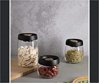 Conteneur Stockage Nourriture, 3pcs Set Vide En Plastique Boîte Rangement Des Aliments Cuisine (Color : Black 1 Set(3pcs))