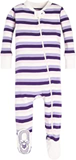 Baby Girls Sleeper Pajamas, Zip Front Non-Slip Footed Sleeper PJs, 100% Organic Cotton