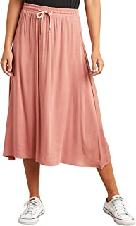 Drawcord Elasticised Waistband Flared Midi Skirt 10203328 For Women Closet by Styli