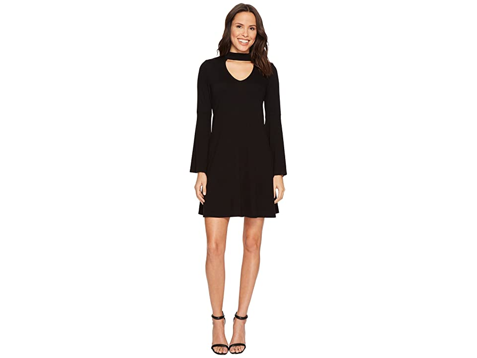 Karen Kane Mock Neck Taylor Dress (Black) Women's Dress