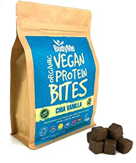 BodyMe Organic Vegan Protein Bites | Raw Chia Vanilla | 1.1lb 500g | 100 Bites | with 3 Plant Proteins