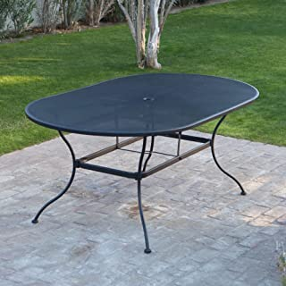 Belham Living Stanton 42 x 72 in. Oval Wrought Iron Patio Dining Table by Woodard - Textured Black