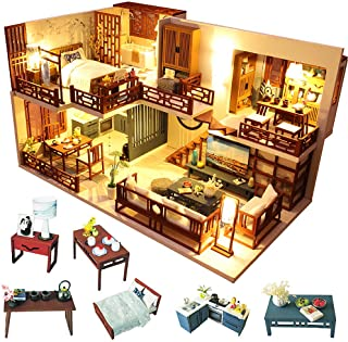 Fsolis DIY Dollhouse Miniature Kit with Furniture, 3D Wooden Miniature House with Dust Cover and Music Movement, Miniature Dolls House kit (M25)