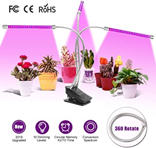 Grow Light or Plant Lamp with Timer (Auto ON/Off)/Three 360 Degree Gooseneck/36Watt with 60 PCS LEDs/Tripe Spectral Patterns (Red, Blue, Red and Blue)/Brightness Dimmer/ for Indoor Plant, Seed, Hydroponics, Potted plants, Vegetable, Flower, Fruits