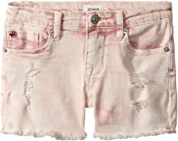 "3"" Fray Hem Shorts in Pink Coral Acid Wash (Toddler/Little Kids)"