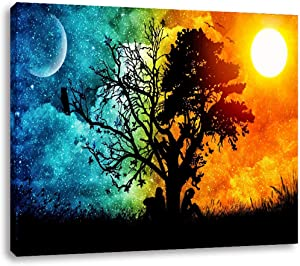 AGCary Sun Moon Tree Wall Decor Modern Artwork Print Canvas Painting for Living Room Bedroom Home Decor Poster Print Oil Paintings Canvas Reproduction Ready to Hang 16