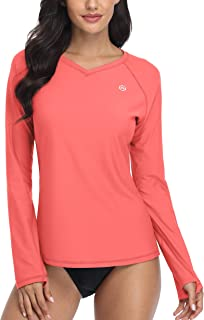 ATTRACO Women Rash Guard Swim Shirt Long Sleeve Sun Protection Thumb Hole UPF 50 V Neck