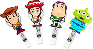 Finex Set of 4 Toy Story Retractable Badge Holder ID Badge Reel Clip On Card Holders - Buzz Lightyear Woody Jessie Green Alien