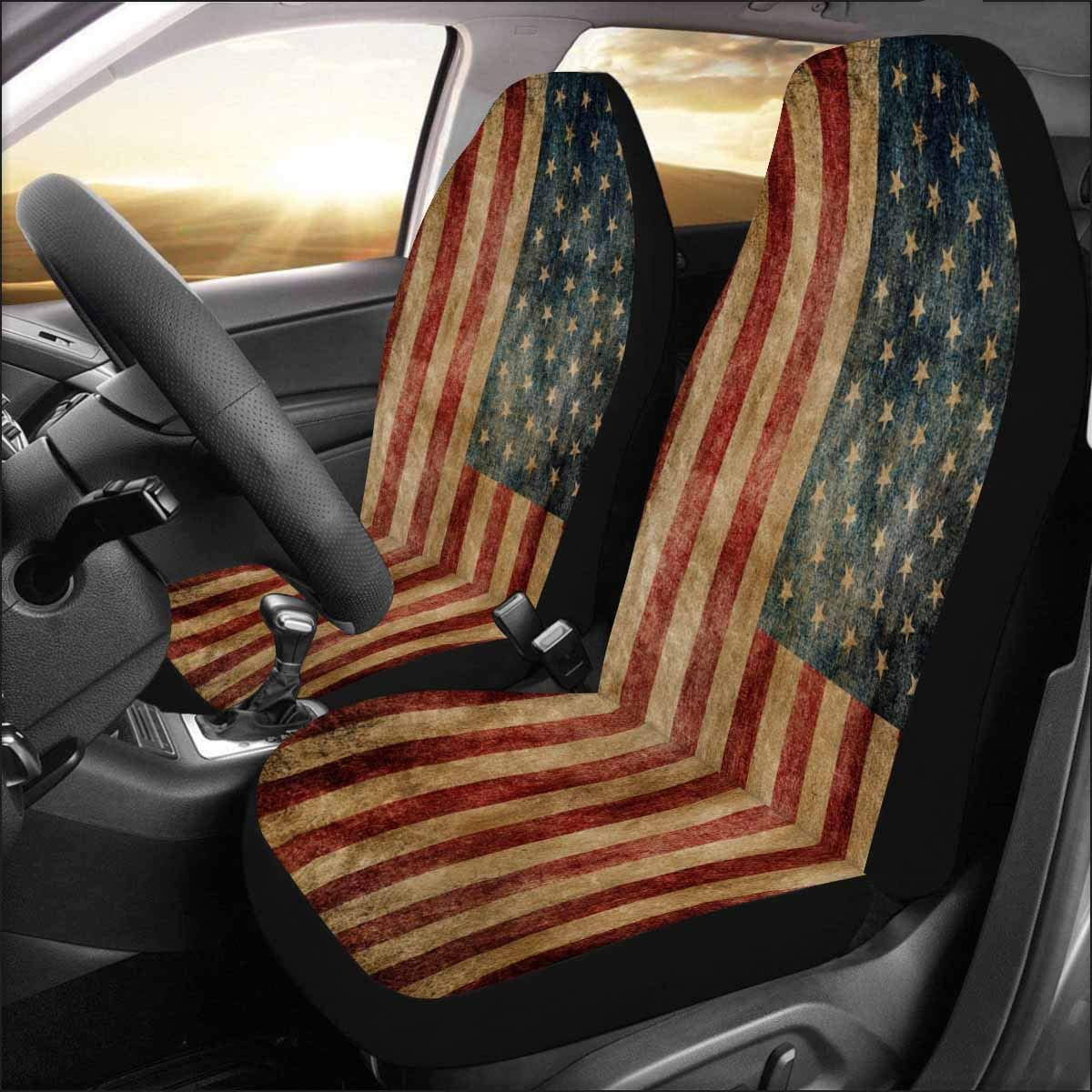 Van SUV Cars INTERESTPRINT American Flag Front Seat Covers 2 pc,Vehicle Seat Protector Car Mat Covers Truck Sedan Fit Most Vehicle