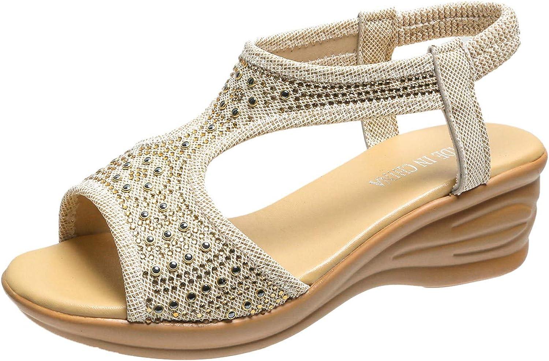 Women's Heeled Sandal Rhinestone Peep-Toe Wedge Sandals Roman St