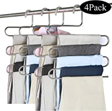 ABUNRO 4Pack Multi Pants Hangers Space Saving Pants Organization, 5 Layer Stainless Steel S-Shape Trousers Hangers for Space Saving Storage Pants Jeans Scarf Hanging
