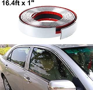 ALAVENTE Car Chrome Moulding Trim Strip Auto DIY Exterior Decoration PVC Tape for Window Bumper Grille Guard Protection (5m × 25mm, 16.4ft x 1