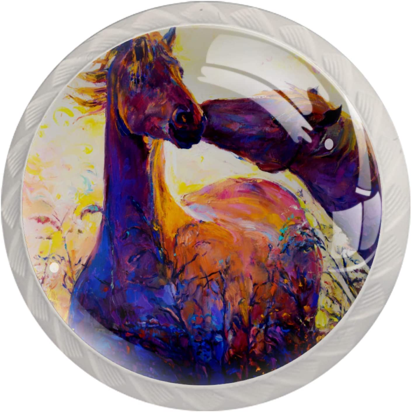 Door Knobs Horses 5 popular New Free Shipping Oil Painting Lovely Pull Handle Drawer C