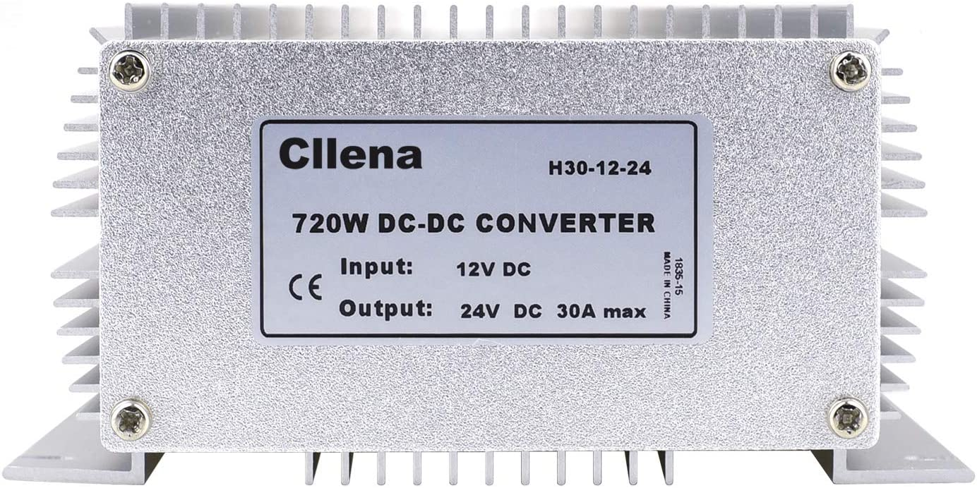 Cllena Waterproof DC//DC 12V to 24V Boost Converter 30A 720W Step Up Voltage Regulator Module Car Power Supply Voltage Transformer Input 10V-16V