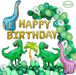 DAYPICKER Decoraciones de Fiesta de Dinosaurio Globos, Banner de Globos de Dinosaurio 20pcs Globos de látex Verde 10pcs Globos de Dinosaurio 2pcs Green Tyrannosaurus Rex 2Pc Pin Globos de Dinosaurio