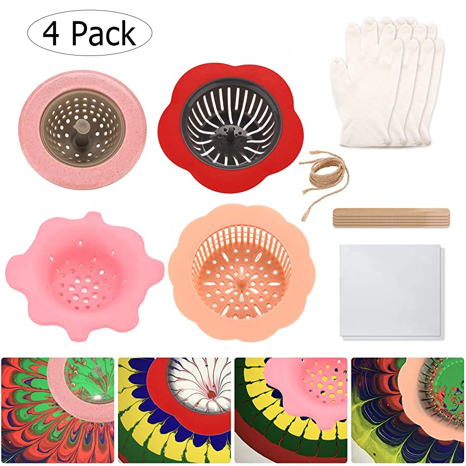 Painting Strainer -FUBARBAR Fluid Paint Pouring Plastic Silicone Supplies Acrylic Paint Strainer Set Creating Unique Patterns and Designs Pouring Paint Strainer Flower Drain Basket Kits (4 Pack)