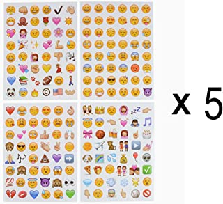 COOLAKE Emoji Stickers 20 Sheets Funny Emoticon Stickers (2 cm) Smiley Face Decorative Kids Party Supplies Favors for Journal Plan Pictures Scrapbook