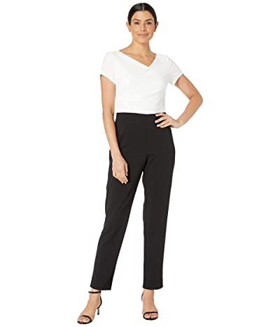 Adrianna Papell Color Blocked Crepe Cowl Neck Jumpsuit (Ivory/Black) Women