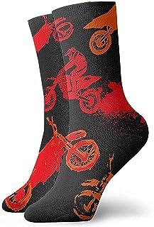 Grandes regalos Unisex Mujeres Hombres Volando Motocicleta Rojo Suave Transpirable Tobillo alto Calcetines casuales de algodón Más gruesas Medias debajo de la rodilla Calcetines cómodos