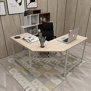 Acero /& Bianco 150 CM Ufficio a casa PC Portatile Workstation di Studio Tavolo angolare con Supporto CPU DlandHome L Scrivania del Computer 150 CM