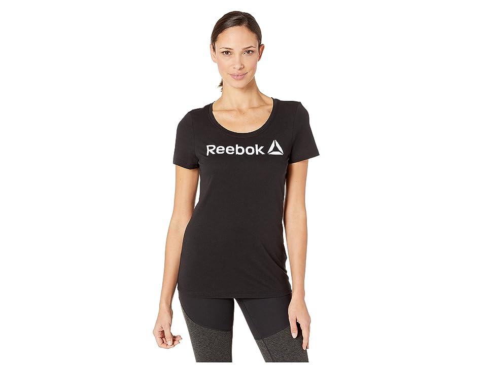 Reebok Linear Read Scoop Neck (Black/White) Women