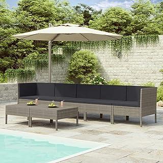 vidaXL Set de Muebles de Jardín 8 Piezas y Cojines Asiento Butaca Descanso Sofá Mueble Exterior Patio Elástica Estable Duradera Ratán Sintético Gris
