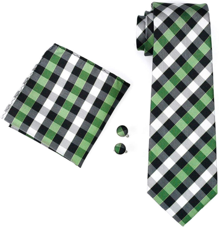 Neckties Set Green Ties For Men Match Pocket Square Cufflinks Silk Neck Tie For Men Wedding Party Business Tie Set