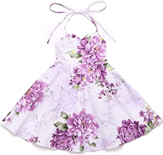 Flofallzique Floral Girls Dress Vintage Summer Flower Baby Girls Clothes Holiday Party Toddler Dress