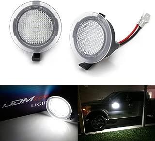 iJDMTOY White LED Under Side Mirror Puddle Lights For Ford F150 Raptor Edge Explorer Flex, Lincoln Navigator Mark LT MKX etc. (Powered by 18 pcs White SMD LED Lights)