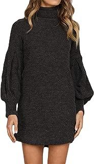 Long Sleeve Bishop Sleeve Lantern Sleeve Turtleneck Ribbed Rib Knit Sweater Jumper Tunic Mini Bodycon Dress