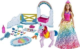 Barbie GTG01 - Dreamtopia Księżniczka z jednorożcem zestaw do zabawy z lalką Barbie, jednorożcem i zmieniającym kolor nocn...