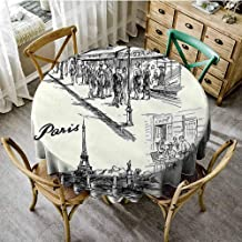 Playyee Garden Round Tablecloth Eiffel Tower,Paris Sketch Style Cafe Restaurant Landmark Canal Boat Lantern Retro Print,Black White Outdoor Picnics Diameter 54