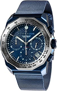 Mens Watch Decagon GT 44mm Quartz Chronograph Watch with Stainless Steel Band Waterproof