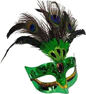 Peacock Feathers Half Face Mask Halloween Party Cosplay (Green 1 Pack)