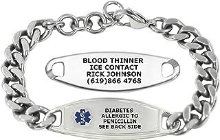 Divoti Custom Engraved Medic Alert Bracelets For men – Steelman Large Curb Stainless Steel Medical Alert Bracelet w/Free Engraving - Adjustable