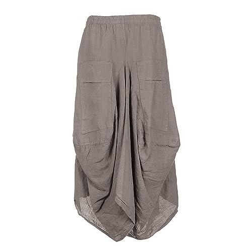 6feb3e64ba New Womens Italian Lagenlook Elasticated 2 Slit Pocket Parachute Asymmetric  Tulip Long Linen Ladies Maxi Skirt