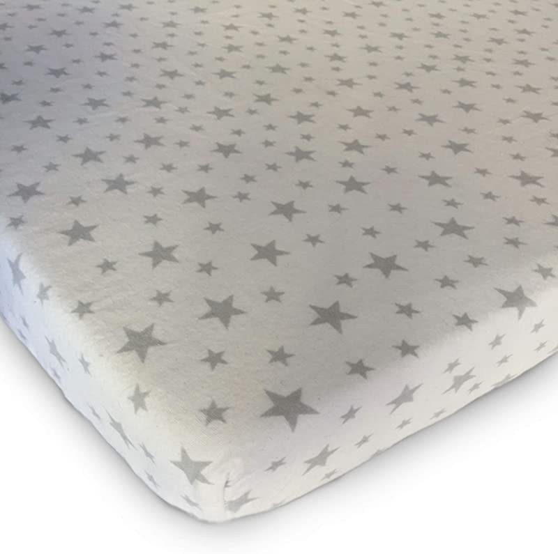 Pack N Play Playard Sheet 100 Premium Cotton Flannel Super Soft Fits Perfectly Any Standard Playard Mattress Up To 3 Thick Grey Stars