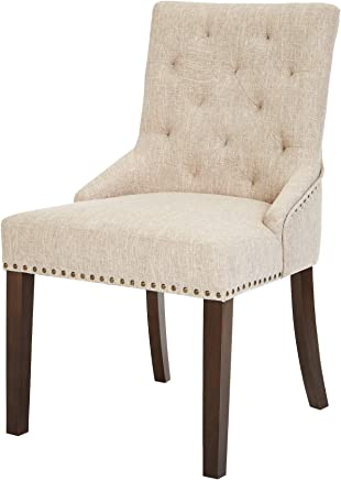Red Hook Martil Upholstered Dining Chair with Nailhead Trim,  Biscuit Beige,  Set of 2