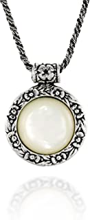 Antique Style Floral Design Round Gemstone Pendant Sterling Silver Necklace, 20 Inches