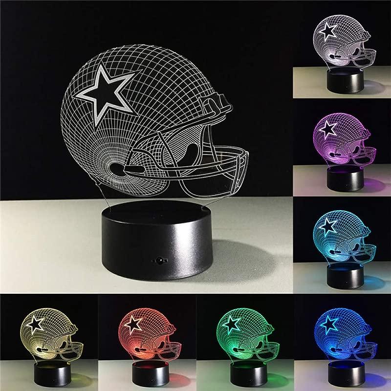 SWPYD 3D Night Light Dallas Cowboys Helmet Lamps 3D Led Lamp 7 Colors Change Acrylic USB Led Table Lamp Kids Gift Creative Night Lamp