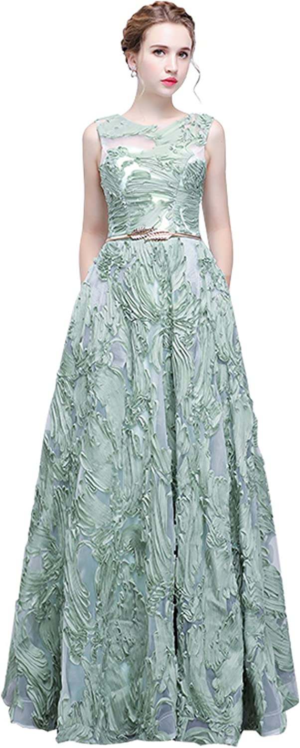 Epinkbridal Women's Embroidery Sleeveless Long A Line Formal Dress with Sash Evening Party Gowns