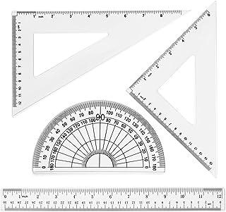 مجموعة مسطرة بلاستيكية للرياضيات 30.48 سم من كوباي تتضمن مسطرة مستقيمة، مساطر مثلثات، مقاقل لللوازم المكتبية المدرسية (شفافة)