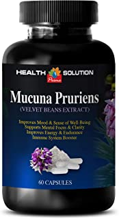 Herbal Mood Booster for Men - MUCUNA PRURIENS - Velvet Beans Extract - mucuna pruriens Supplement - 1 Bottle 60 Capsules