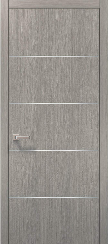 Modern Wood Interior Door 32 x 80 with Hardware | Planum 0020 Grey Oak | Single Pre-Hung Panel Frame Trims | Bathroom Bedroom Sturdy Doors