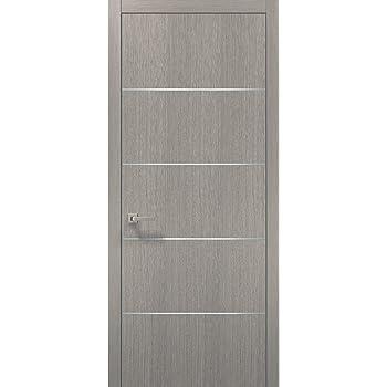 Modern Wood Interior Door 30 X 80 With Hardware Planum 0020 Grey Oak Single Pre Hung Panel Frame Trims Bathroom Bedroom Sturdy Doors Amazon Com