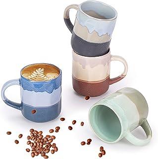 لیوان Cutiset 15 Ounce Ceramic Lava ، لیوان بی نظیر مایکروویو و لیوان لیوان قهوه قهوه 4 تایی ، چند رنگ