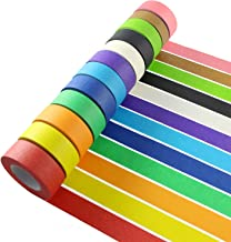 Colored Masking Tape, 12 Pieces 1 Inch x 22 Yard Rainbow Masking Labeling Tape, Assorted Color Coded & Kids DIY Art Supplies, Home Decoration, Office Supplies