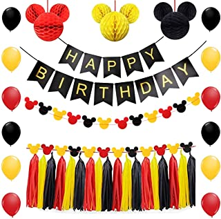 Mickey Mouse Party Supplies Kit Mickey Mouse Theme Decorations Set with Honeycomb Balls Mickey Mouse Paper Garland Happy Birthday Banner 12 Inch Latex Balloon Tissue Paper Tassels