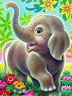 KoKoWill 5D DIY Diamond Painting Kit for Adults Kids, Full Drill Round Crystal Rhinestone Embroidery Cross Stitch Home Wall Décor Arts Craft Canvas,Elephant,11.81 x 15.75 inch