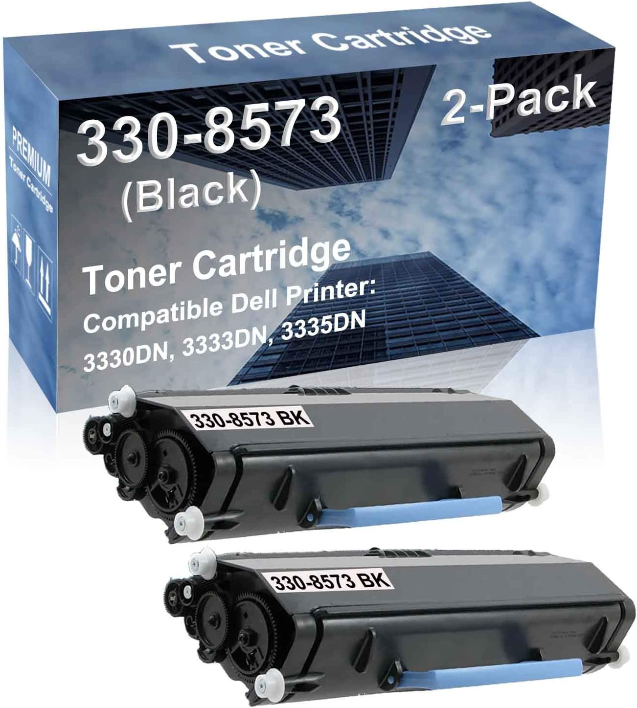 2-Pack Compatible High Capacity 3330DN, 3333DN, 3335DN Printer Toner Cartridge Replacement for Dell 330-8573 (N27GW) Printer Cartridge (Black)